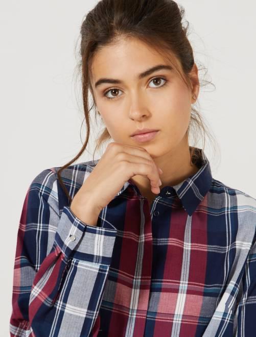 Chemise à carreaux colorée                                                                 carreaux bleu/rouge Femme