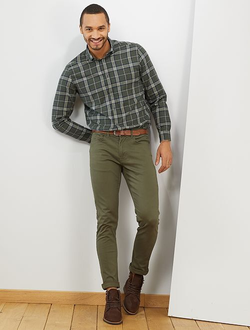 Chemise à carreaux                     kaki