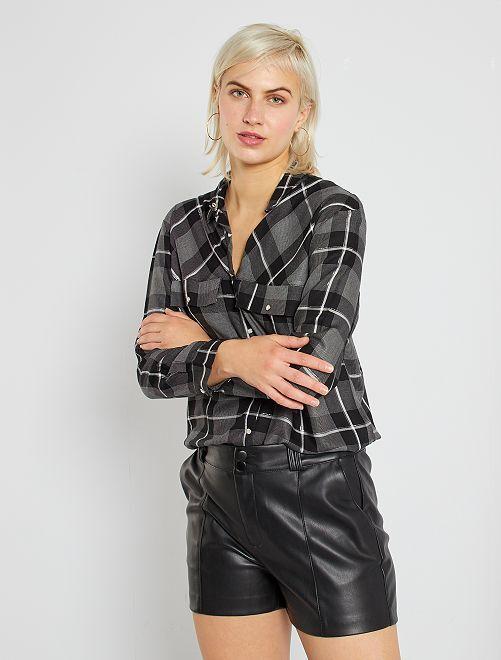 Chemise à carreaux                     noir/gris