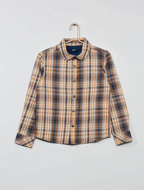 Chemise à carreaux                                             orange/bleu