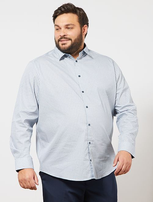 Chemise à micro motif                             blanc/bleu
