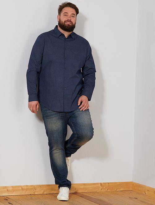 Chemise à micro motif                             bleu marine