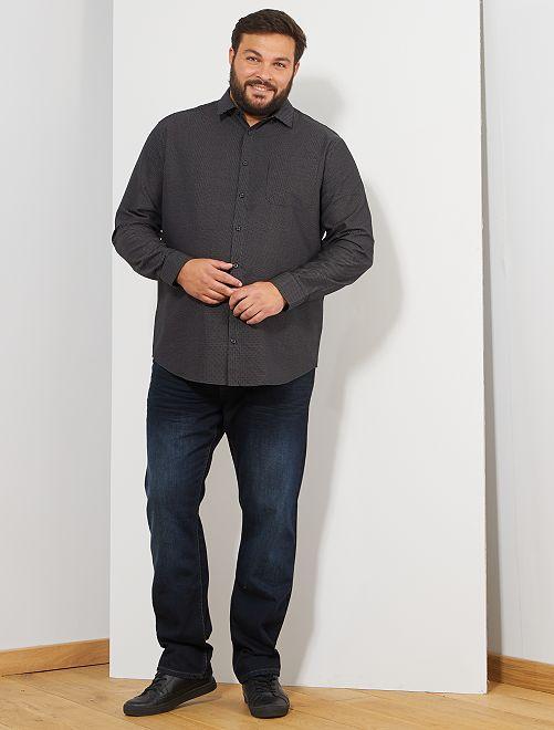 Chemise à micro motif pois                             noir