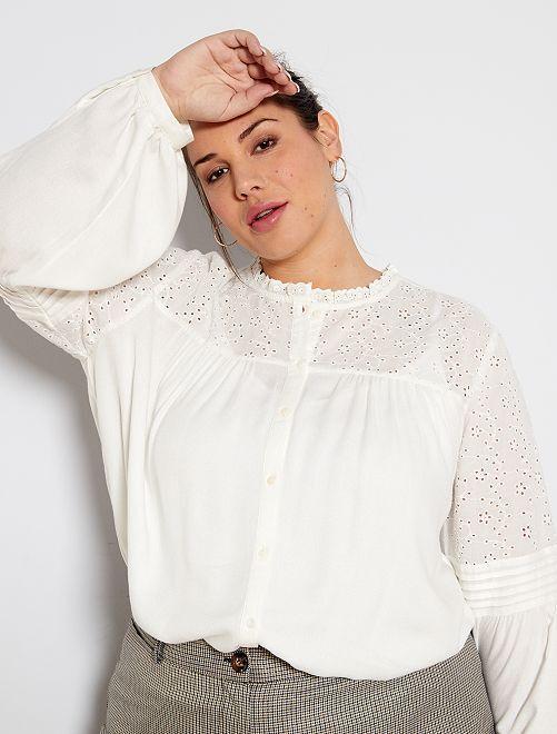 Chemise avec empiècement broderie                             blanc