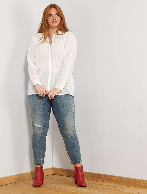 Chemise avec plastron dentelle                                         blanc