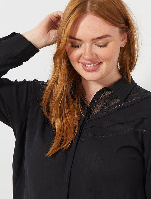 Chemise avec plastron dentelle                                         noir Grande taille femme