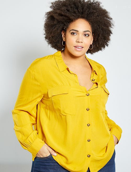 Chemise avec poches plaquées                                         jaune bronze
