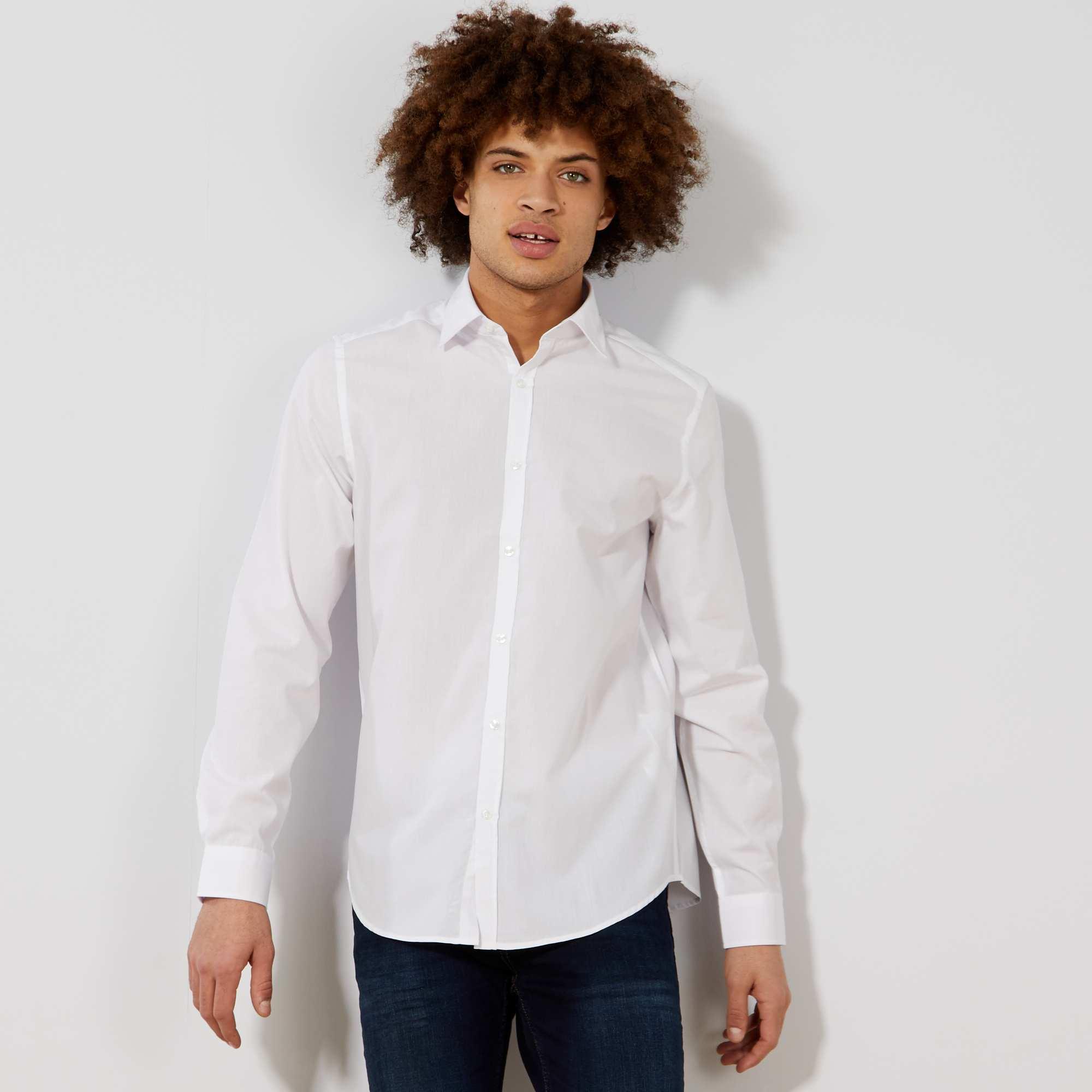 Chemise blanche unie coupe droite homme blanc kiabi - Chemise coupe droite homme ...
