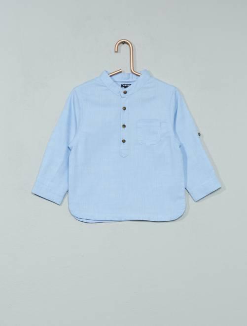 Chemise chambray à col mao                             bleu Bébé garçon