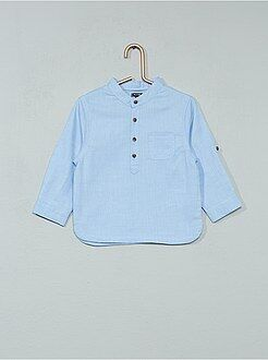 Chemise, blouse - Chemise chambray à col mao