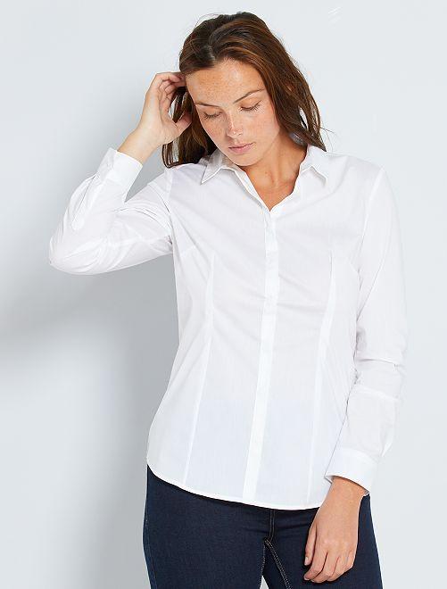 Chemise cintrée en popeline stretch blanc Femme