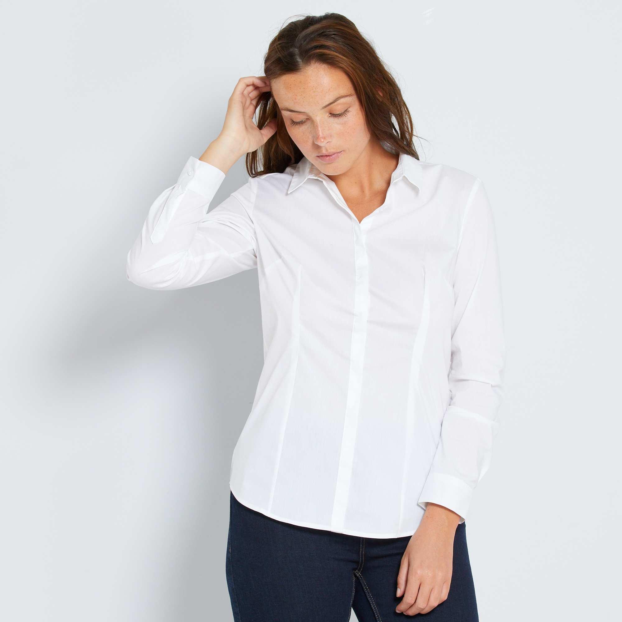 chemise cintr e en popeline stretch femme blanc kiabi. Black Bedroom Furniture Sets. Home Design Ideas