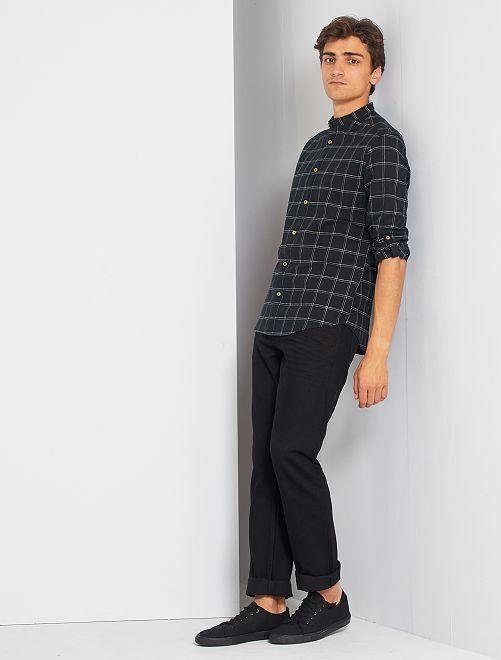 Chemise col mao à carreaux                                         noir
