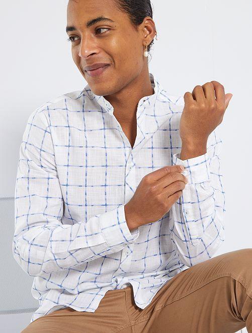 Chemise col mao                                         blanc carreaux