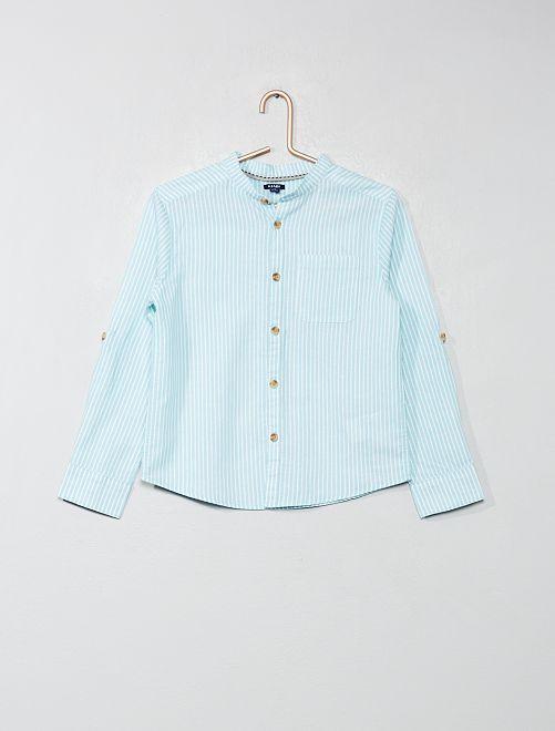 Chemise col mao                                                     bleu vert rayé Garçon