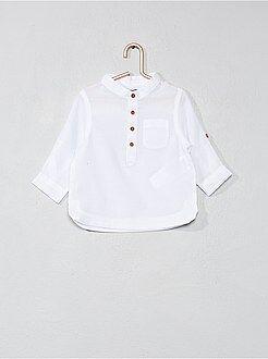 Chemise, blouse - Chemise col mao en voile de coton