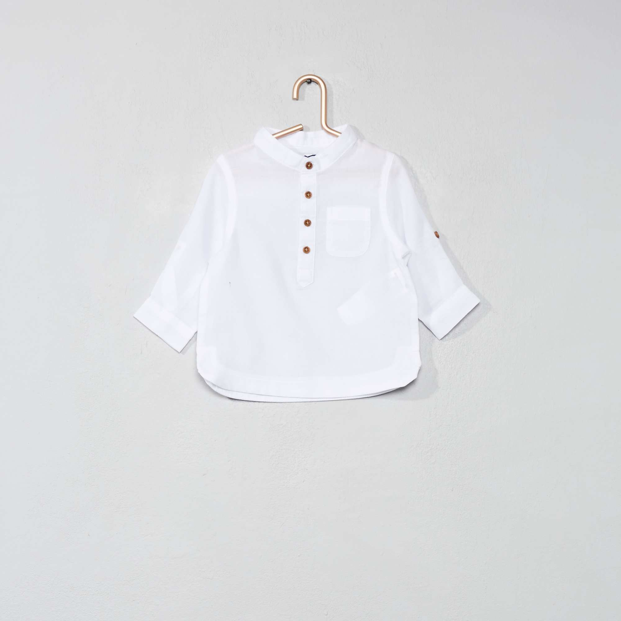 95095cf4cf862 Chemise col mao en voile de coton Bébé garçon - blanc - Kiabi - 8