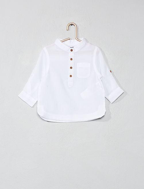Chemise col mao en voile de cotons                             blanc