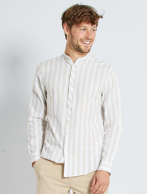 Chemise col mao larges rayures                                         rayé beige
