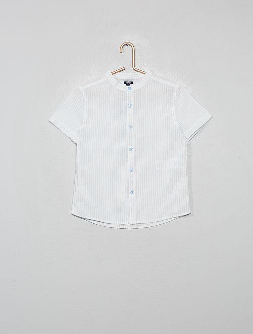 Chemise col mao rayée en coton et lin                                                                 bleu ciel