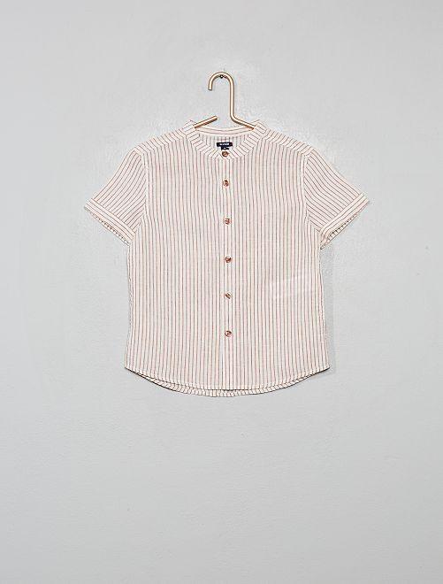 Chemise col mao rayée en coton et lin                                                                 bordeaux