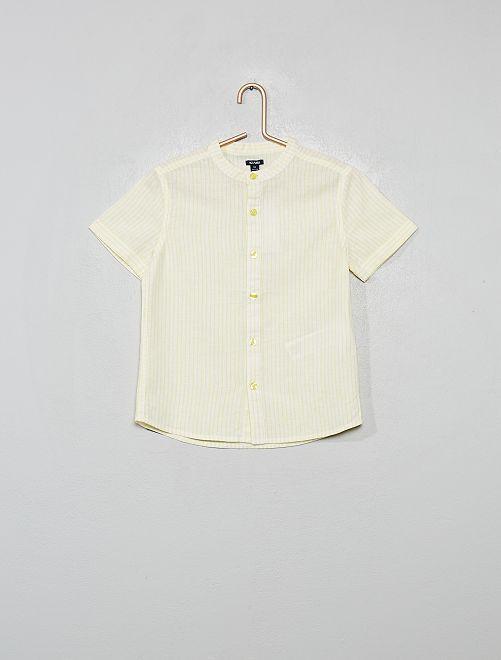 Chemise col mao rayée en coton et lin                                                                 jaune