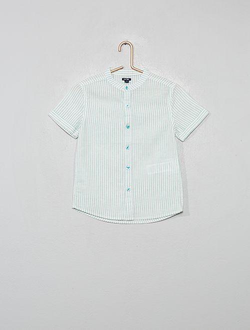 Chemise col mao rayée en coton et lin                                                                 vert