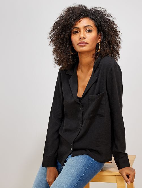 Chemise col plat poche poitrine                                                                 noir