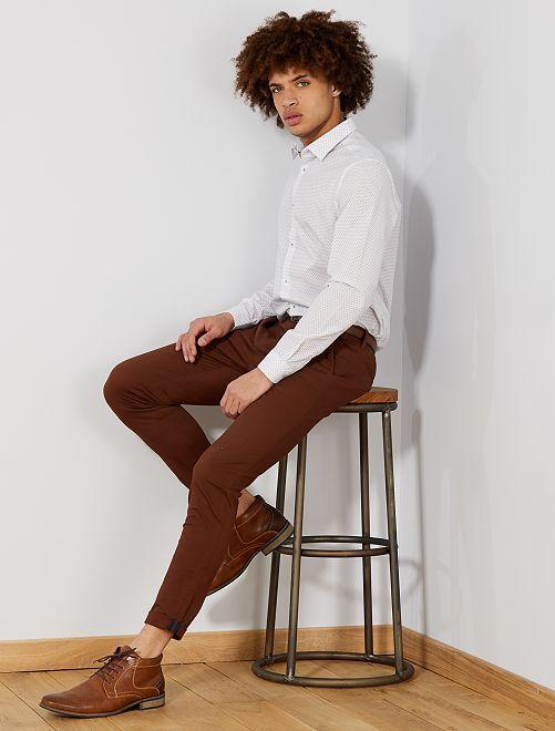 Chemise coupe droite en popeline                                                                 blanc Homme