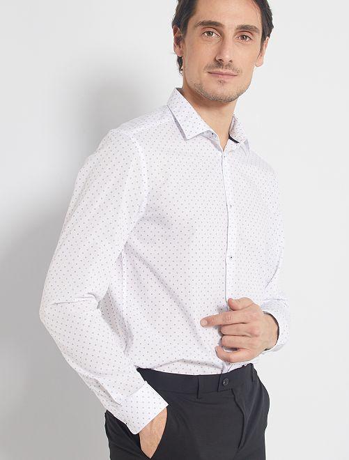 Chemise coupe droite en popeline                                                                 blanc/marine