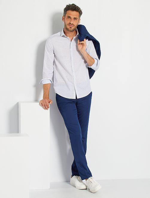 Chemise coupe droite en popeline                                                                             blanc/mini