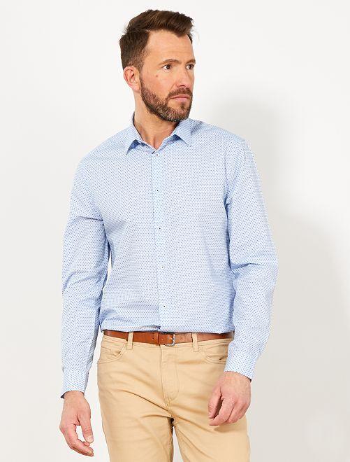 Chemise coupe droite en popeline                                                                             bleu