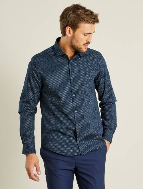 Chemise droite popeline à pois                                             bleu marine Homme