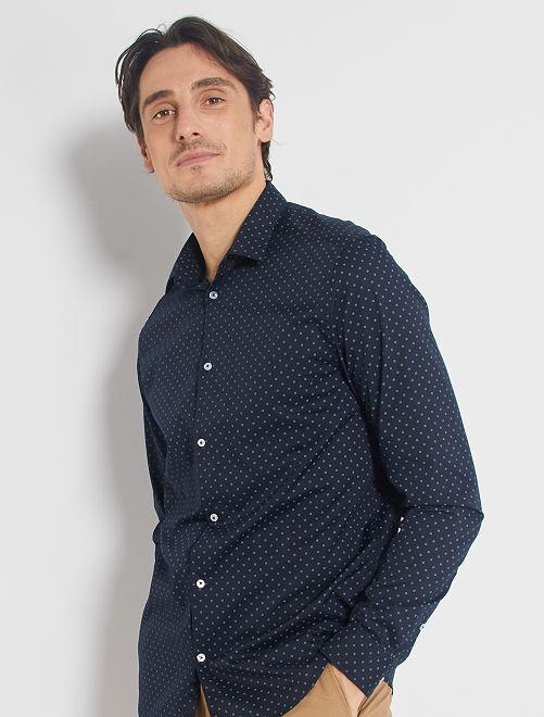 Chemise coupe droite en popeline                                                                 bleu marine