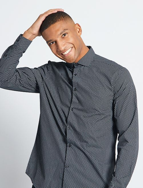 Chemise coupe droite en popeline                                                                             noir/gris