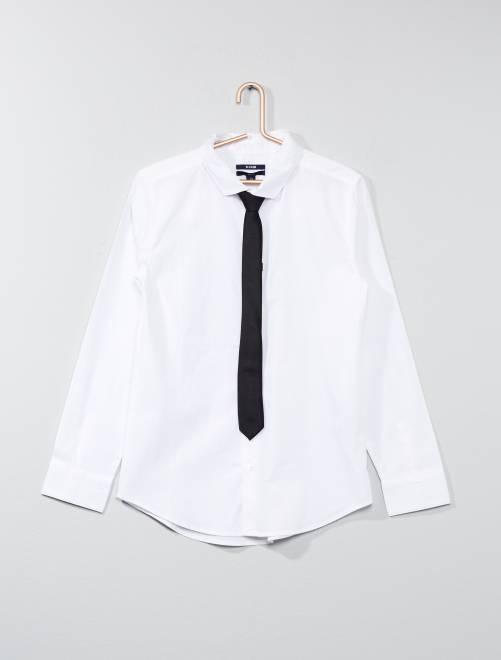 Chemise + cravate                                                                 BLANC Garçon adolescent