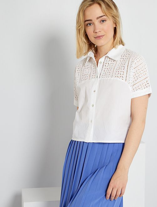 Chemise crop en broderie anglaise                             blanc