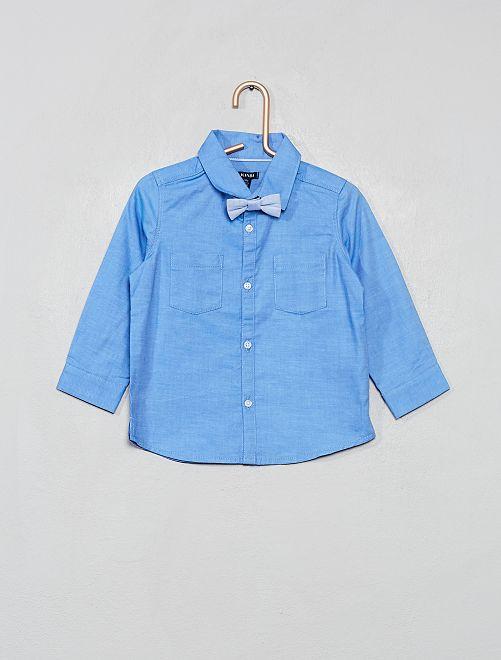 Chemise de cérémonie + nœud papillon                             bleu