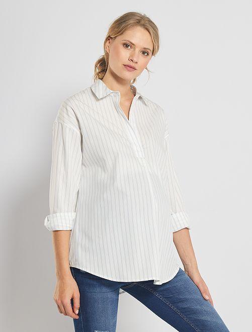 Chemise de grossesse rayée                                         blanc/bleu clair