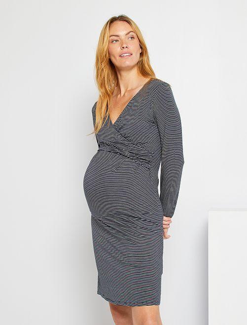 Chemise de nuit de maternité                                         bleu marine/blanc