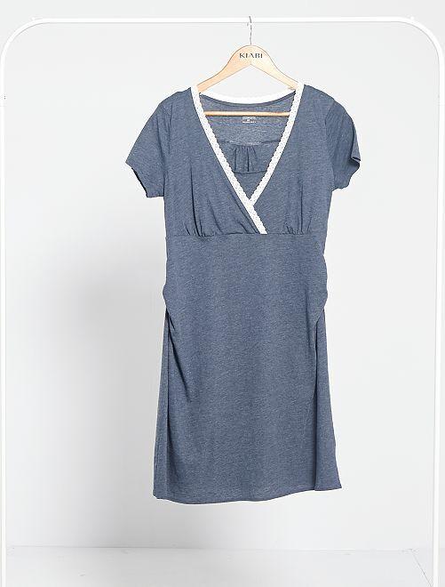 Chemise de nuit de maternité 'éco-conception'                                         bleu marine