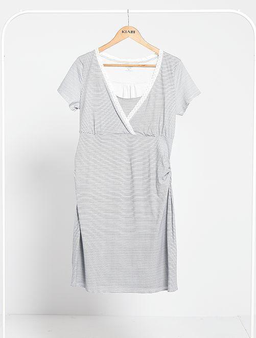 Chemise de nuit de maternité 'éco-conception'                                         bleu/blanc
