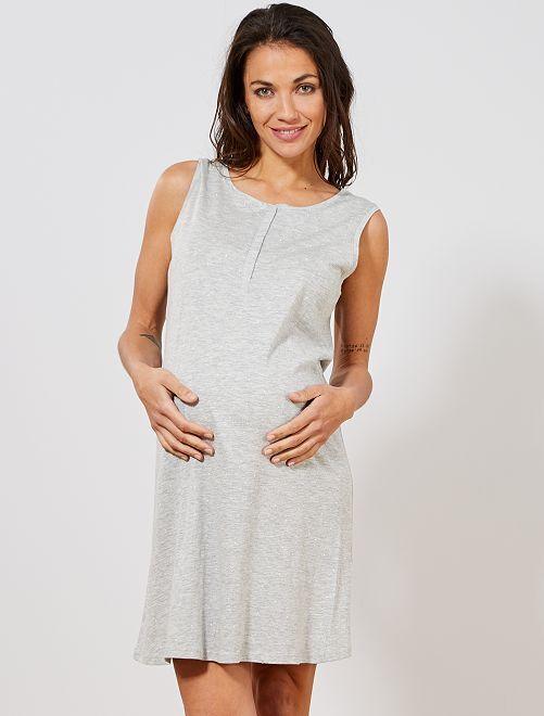 Chemise de nuit de maternité en coton biologique                                         gris Femme