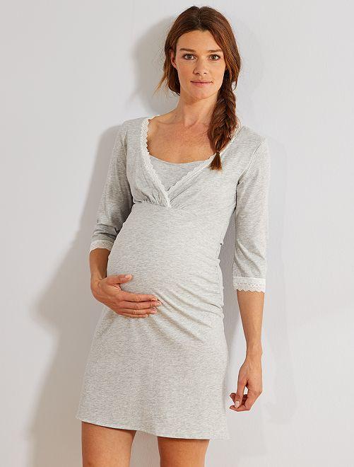 Chemise de nuit de maternité en coton biologique                                         gris