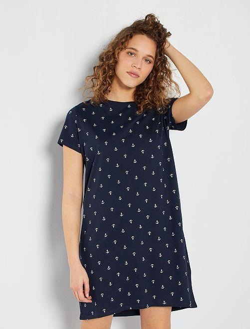 Chemise de nuit éco-conçue                                                                                                                 bleu