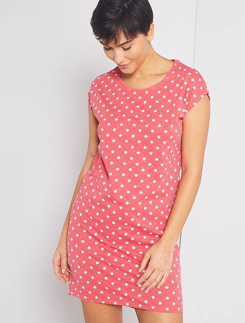 Chemise de nuit éco-conçue                                                                                         rose allover