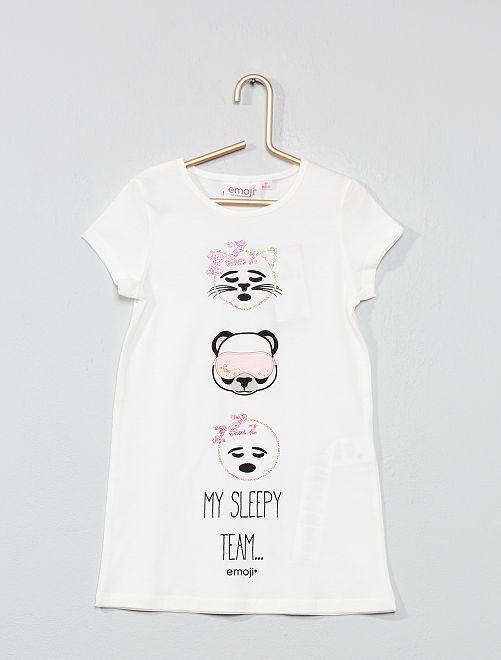 Chemise de nuit 'Emoji'                             blanc Fille