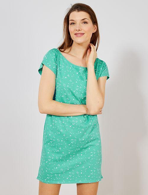 Chemise de nuit en coton                                                                                                                                                     bleu Lingerie du s au xxl