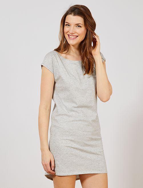 Chemise de nuit en coton                                                                                                     gris
