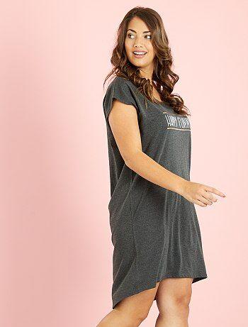 chemise de nuit en coton imprim grande taille femme kiabi 10 00. Black Bedroom Furniture Sets. Home Design Ideas
